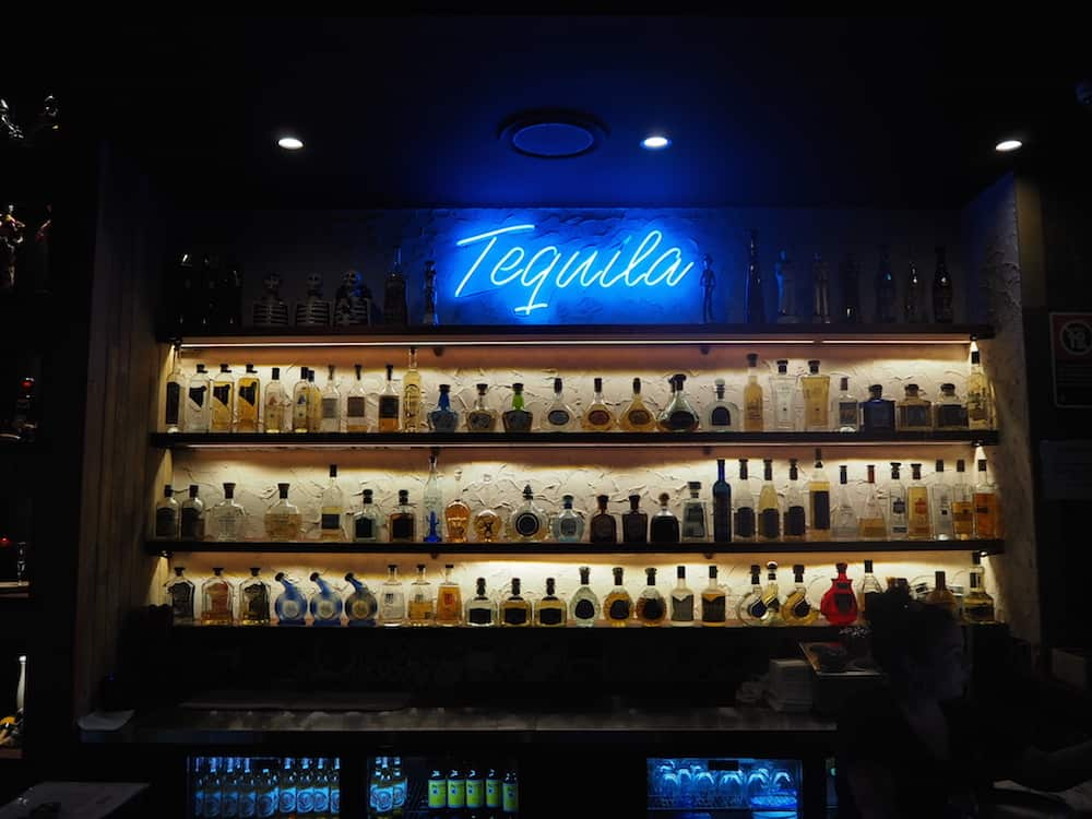 Tequila bar at La Barrita