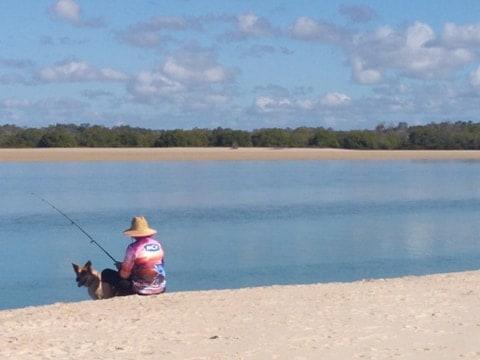 Fishing at Theodolite Creek near Woodgate Beach